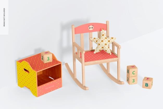 Fotel bujany dla dzieci z makieta pojemników na zabawki drewniane