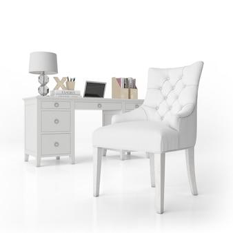 Fotel i biurko z artykułami biurowymi