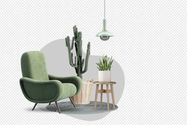 Fotel i kaktus oraz nowoczesne meble w renderowaniu 3d