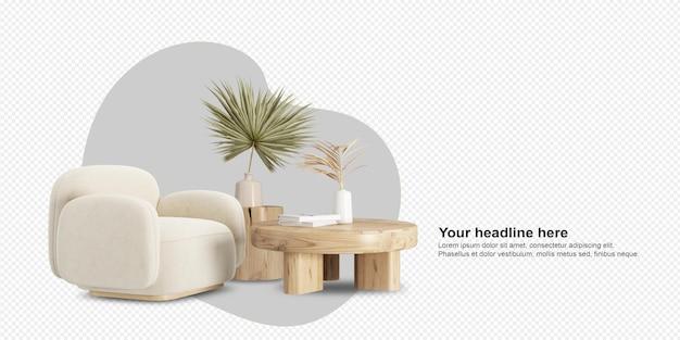 Fotel i liście w renderowaniu 3d