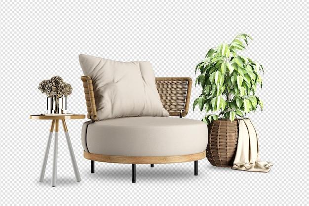 Fotel i makieta roślin renderowane w 3d