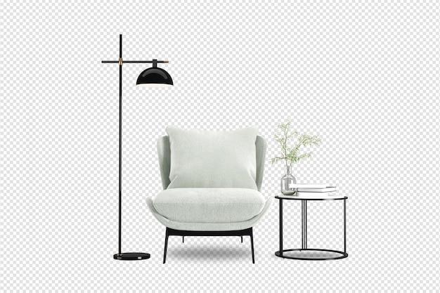 Fotel i nowoczesne meble w 3d renderowane