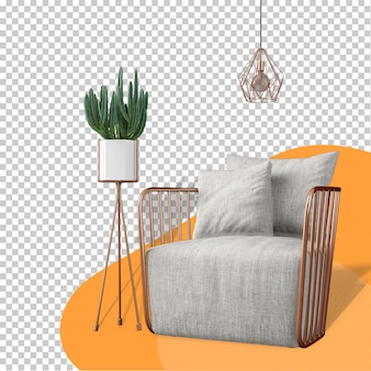 Fotel i roślina makieta renderowania 3d