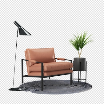 Fotel i roślina w makieta salonu