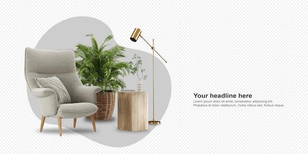 Fotel i roślina w renderowaniu 3d
