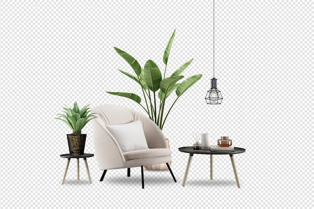 Fotel i rośliny w renderowaniu 3d