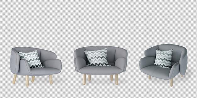 Fotel pod różnymi kątami w renderowaniu 3d