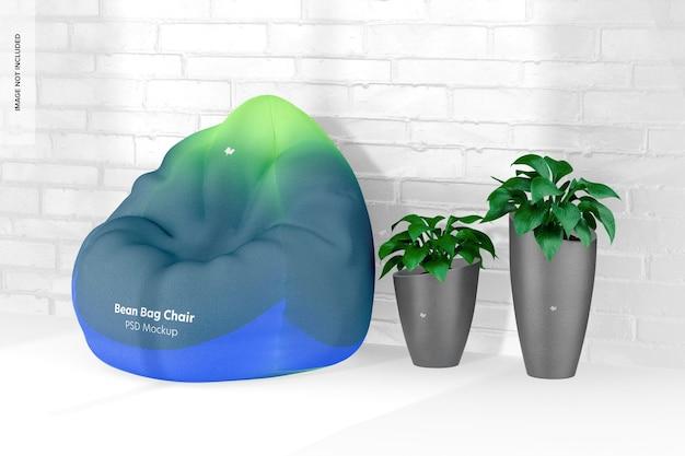 Fotel worek fasoli z makietą roślin