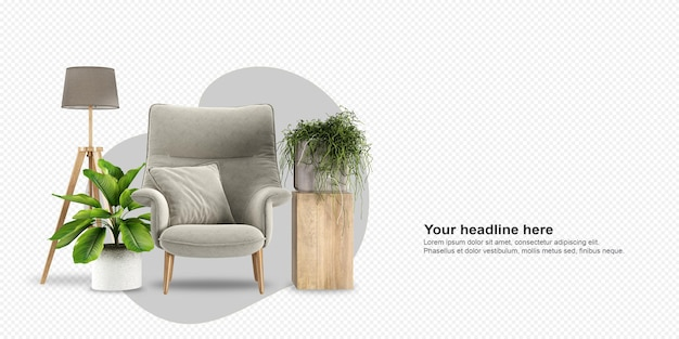 Fotel z widokiem z przodu i roślina w renderowaniu 3d