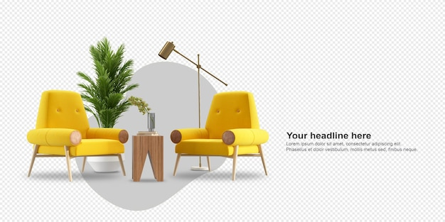 Fotele holownicze i nowoczesne meble w renderowaniu 3d
