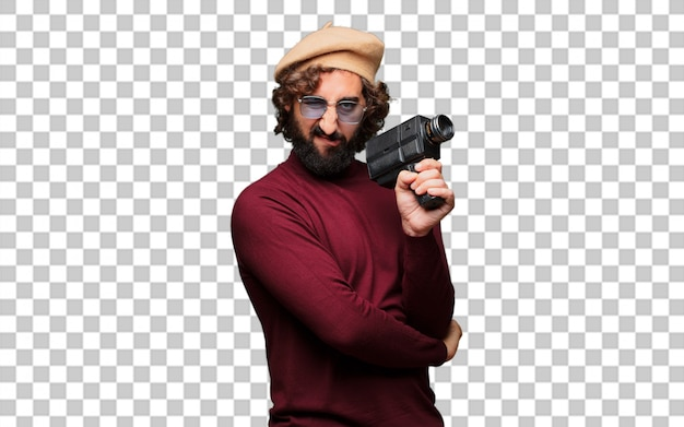 Francuski artysta z beretem i starodawną kamerą filmową