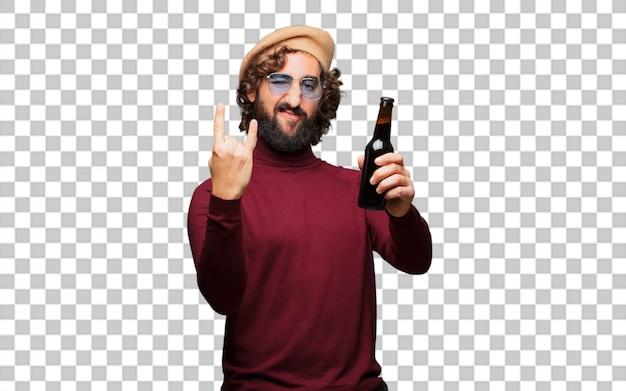 Francuski artysta z beretem trzymającym piwo
