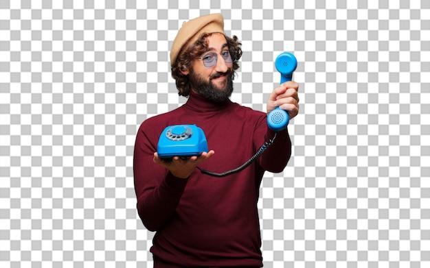 Francuski artysta z beretem z rocznika telefonu