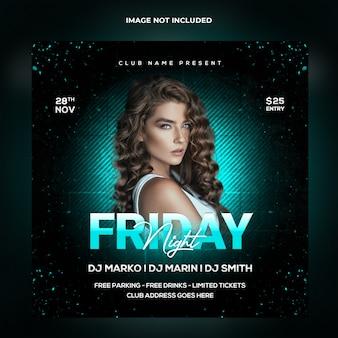 Friday night party szablon postu w mediach społecznościowych