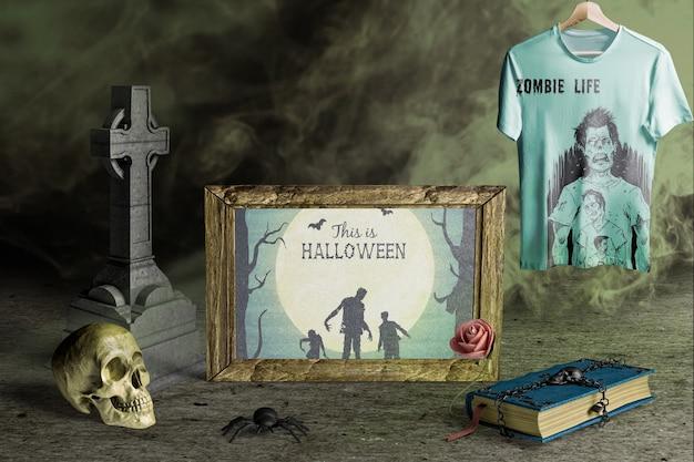 Frontowy widok halloween pojęcia sceny twórca