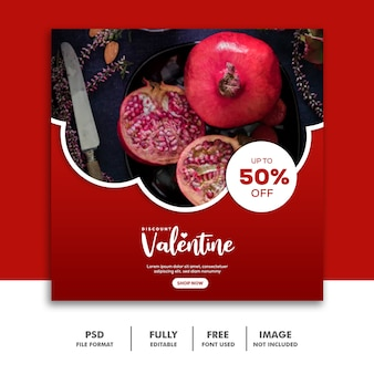Fruit valentine banner media społecznościowe post instagram red