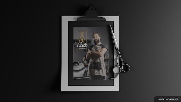 Fryzjer firmowy makieta z nożyczkami