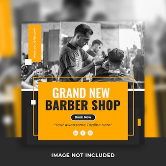 Fryzjer lub męski salon w mediach społecznościowych szablon postu