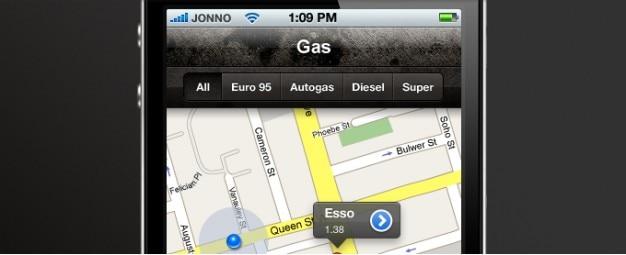 Fuel station finder aplikacji psd