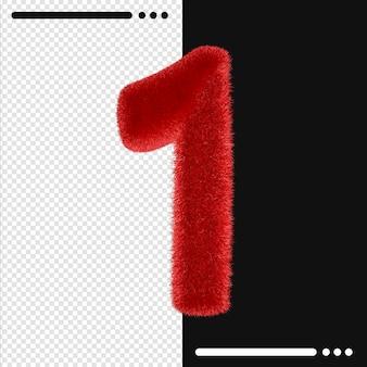 Futro i numer 1 renderowania 3d na białym tle