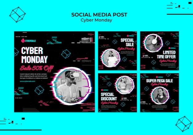 Futurystyczna kolekcja postów na instagramie cyber poniedziałek