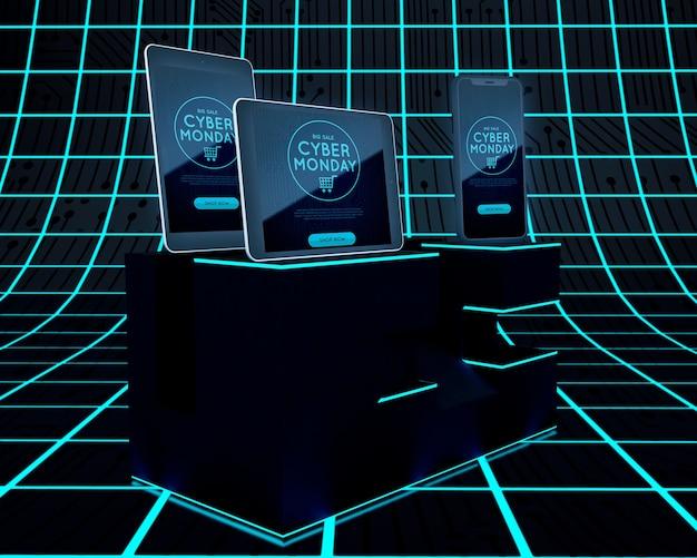 Futurystyczna koncepcja cyber poniedziałek elektronika