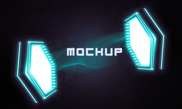 Futurystyczna makieta logo w jasnych światłach