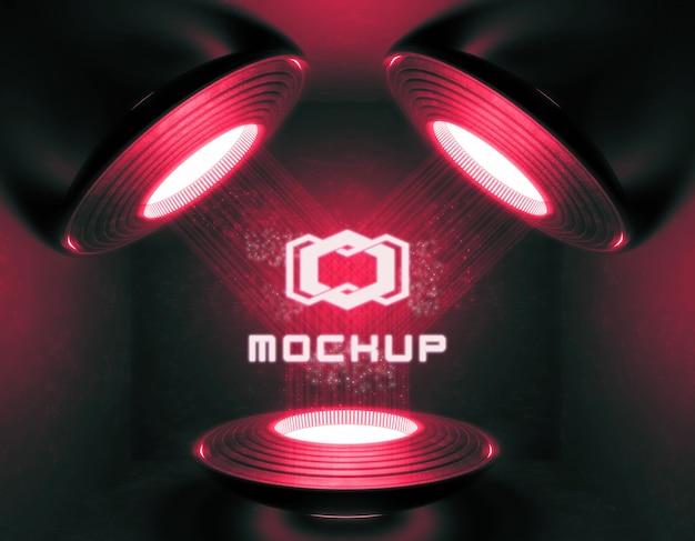 Futurystyczna makieta logo w neonowych światłach