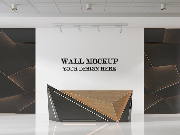 Futurystyczna makieta ścienna do recepcji z drewnianymi wzorami geometrycznymi