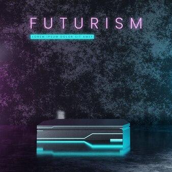 Futurystyczne metalowe podium z neonem
