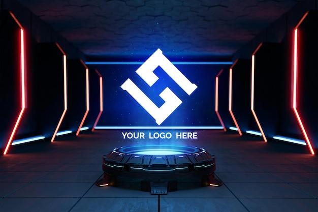 Futurystyczny cokół do makiety logo