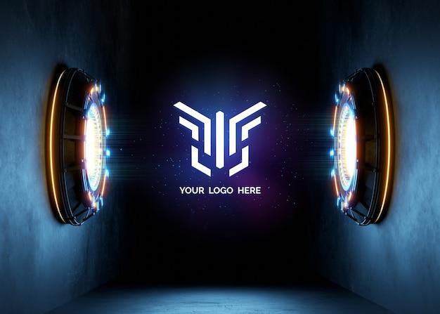 Futurystyczny cokół z makietą logo