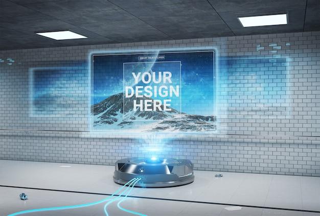 Futurystyczny projektor billboardowy w brudnej makietowej stacji metra