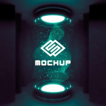 Futurystyczny projektor z efektem logo