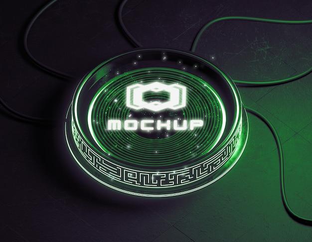 Futurystyczny projektor z efektem makiety logo