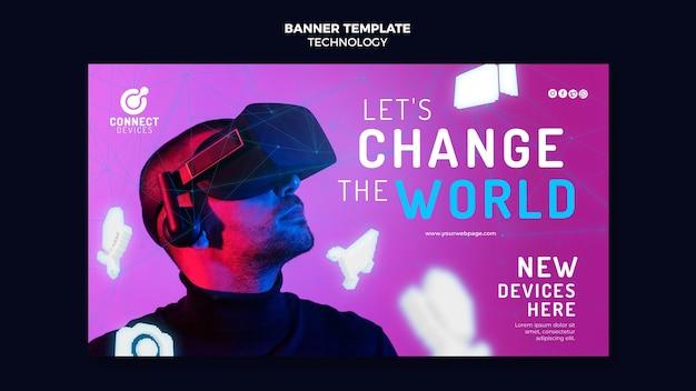 Futurystyczny szablon banera wirtualnej rzeczywistości