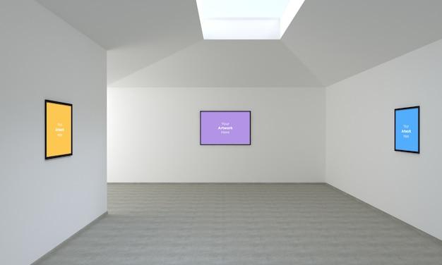 Galeria sztuki trzy ramki muckup 3d illustration i renderowanie 3d