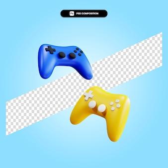 Gamepad 3d render ilustracja na białym tle