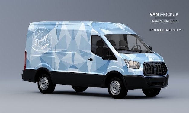 Generic utility van car mock up frontowy widok z prawej strony van mockup