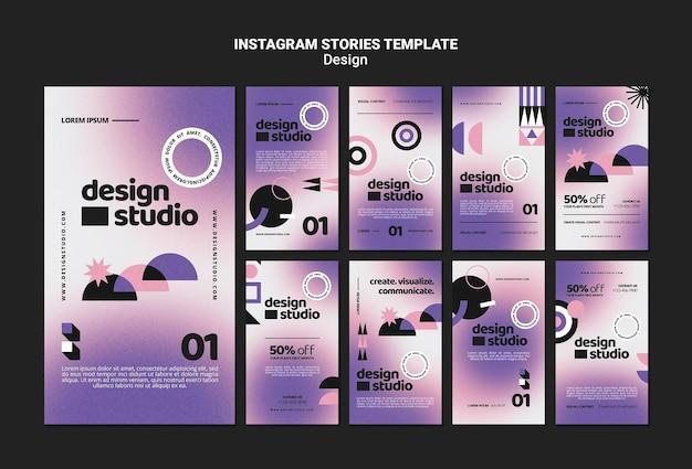 Geometryczna kolekcja opowiadań na instagramie dla studia projektowego