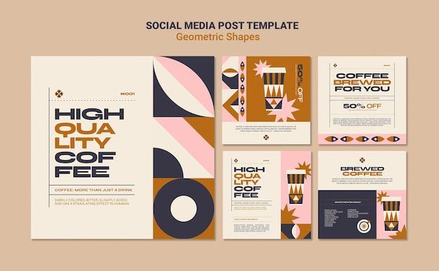 Geometryczne kształty postów w mediach społecznościowych