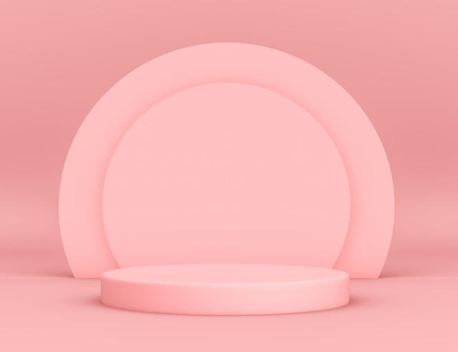 Geometryczne różowe podium 3d do lokowania produktu z okrągłym tłem i edytowalnym kolorem
