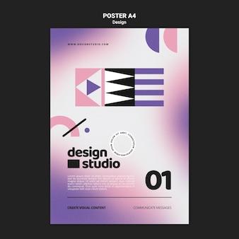 Geometryczny Pionowy Szablon Plakatu Dla Studia Projektowego Darmowe Psd