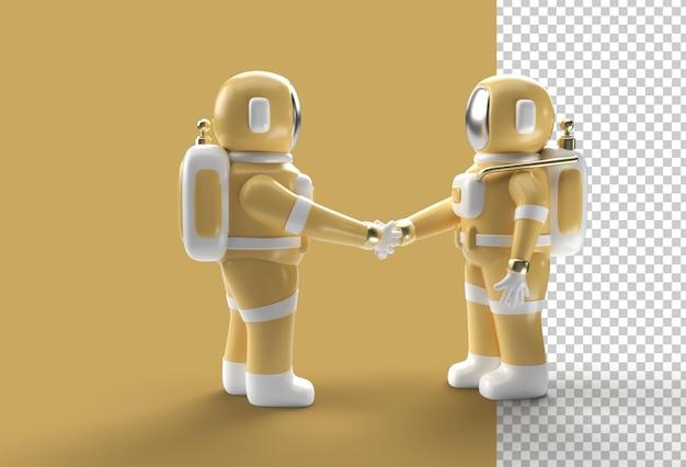 Gest drżenia ręki astronauta renderowania 3d