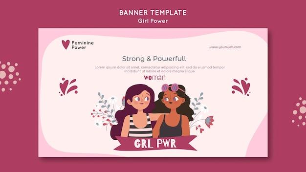 Girl power poziomy baner szablon