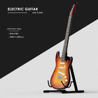 Gitara elektryczna ze stojakiem od lewej widok z przodu