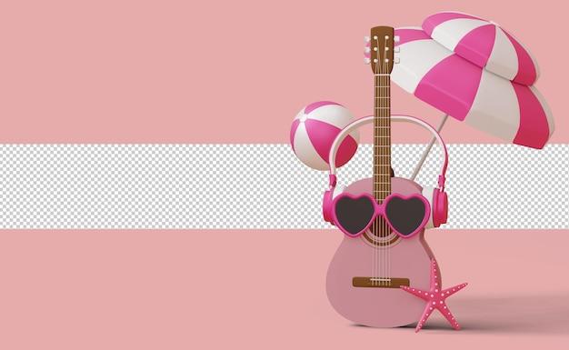 Gitara w okularach przeciwsłonecznych ze słuchawkami, szablon letniej wyprzedaży, sezon letni, renderowanie 3d