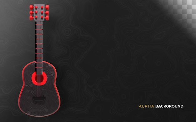 Gitarowe tło muzyczne. ilustracja 3d