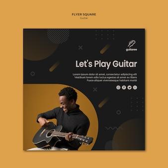 Gitarzysta kwadratowy styl ulotki