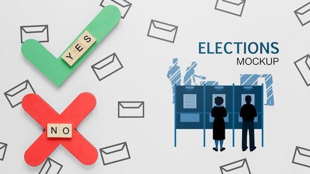 Głosowanie w wyborach na makiecie z ludźmi